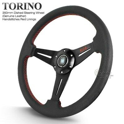 350mm Nardi Style Black Leather Red Stitches Dished Steering Wheel with Horn