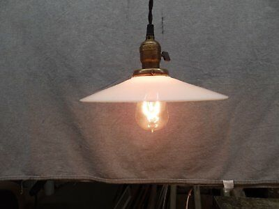 Vintage Industrial Pendant Ceiling Light Old Milk Glass Saucer Shade 496-16