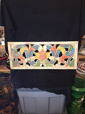 "1940's 29 1/2"" Carved Wooden Reticulated Architectual Panel Pediment"