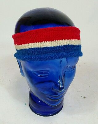 Vintage 70s Red White Blue Sweatband Headband Running Basketball Cycling Jogging