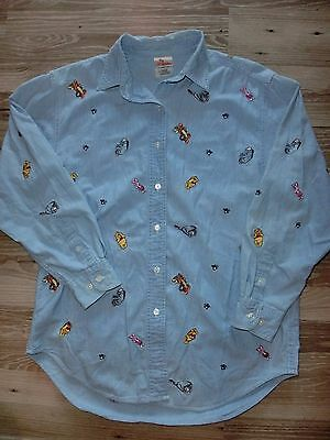Disney Store Winnie The Pooh & Friends Stitched Long Sleeve Cotton Shirt Medium