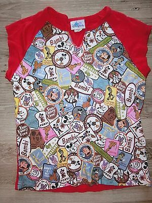 Disneyland Resort Mickey Patches Theme Short Sleeve Jr Xl Multi / Red 2002 Rare