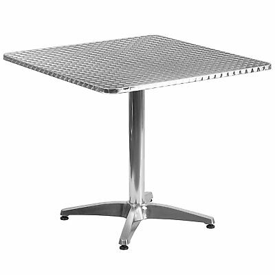 Flash Furniture 31.5inch Square Aluminum Indoor-Outdoor Table w/Base Table NEW