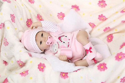 "New 22"" Lifelike Cute Handmade Silicone Vinyl Girl Baby Reborn Dolls Newborn"