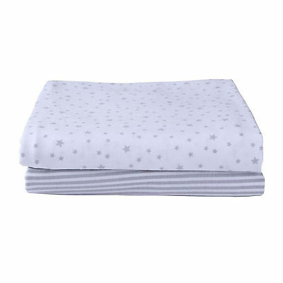 Clair De Lune 2 Pack Pram Crib Fitted Cotton Jersey Sheets Stars & Stripes Grey