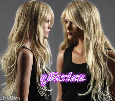Women Ladies Sexy Long curly Blonde Natural Hair full wigs + Wig gift