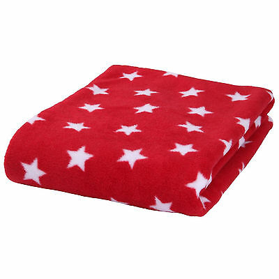 New Clair De Lune Fleece Star Red Blanket Pushchair Pram Moses Crib From Birth