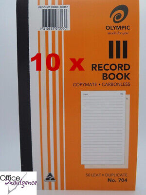 10 x Olympic #704 Carbonless Record Book Dup 200 x 125mm 140857