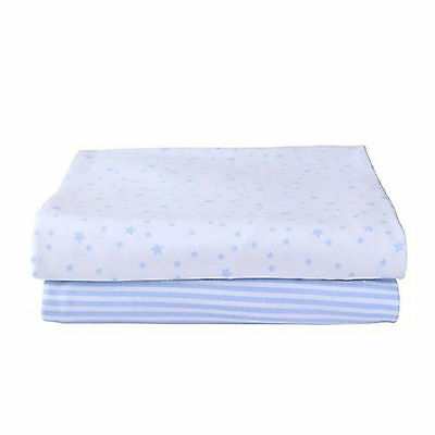 Clair De Lune 2 Pack Moses Fitted Cotton Jersey Sheets Stars & Stripes Blue