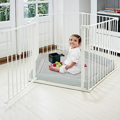 New Babydan White Metal Babyden / Park-A-Kid Playpen & Grey Mat From Birth