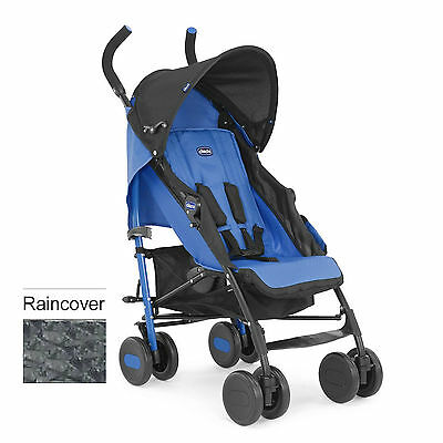 Chicco Echo Pushchair Stroller Marine With Raincover