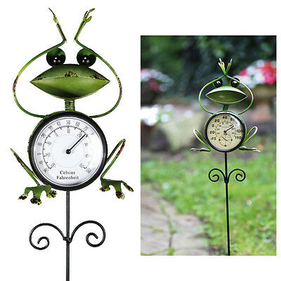 Frog Garden Thermometer Stick Stake Metal Decor Temperature Ornament Novelty New