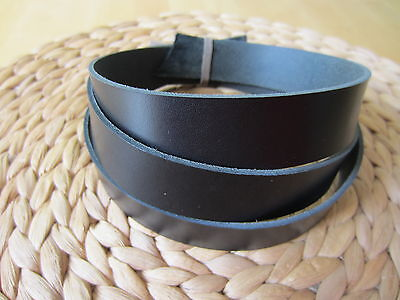 "50"" LONG BLACK 2-2.4mm THICK BRIDLE / BUTT LEATHER STRAP VEG TAN VARIOUS WIDTH"