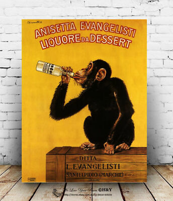 Gorilla Vintage Stretched Canvas Prints Framed Wall Art Home Coffee Shop Decor