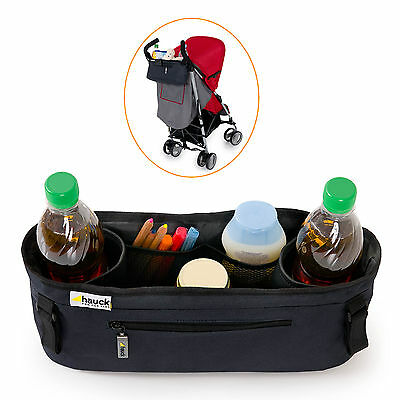 New Hauck Black Pack Me Universal Water Resistant Stroller Organiser Cup Holder