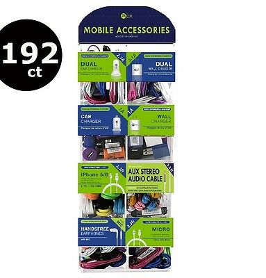 192 PCS CELL PHONE CHARGERS AND CABLES WHOLESALE COUNTER DISPLAY - Earphones