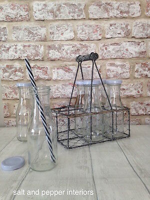 Vintage Style Milk Bottles in Wire Crate Glass Lid French Chic Wooden Handle