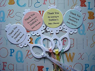 10 x Personalised Baby Rattle Baby Shower Thank You Tags Favours