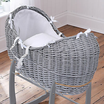 New Clair De Lune White Waffle Grey Wicker Noah Pod Padded Baby Moses Basket