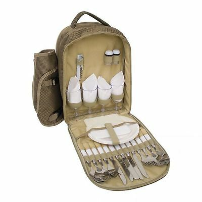 4 Person Camping Picnic Set With Cool Bag Compartment Cutlery, Goblins, Plates