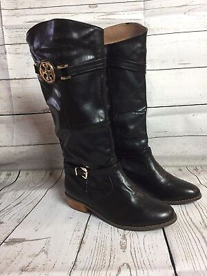 5696b0fe6a4 Black PU-Leather Tall Knee High Buckled Wooden Heel Boots Womens SIZE 7