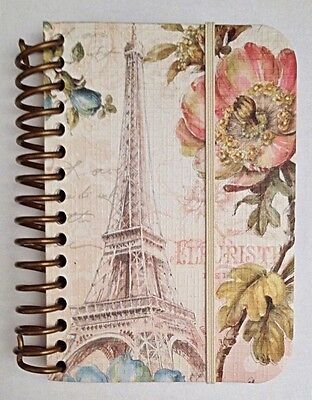 "Spiral Notebook- Small: ""Paris Forever"" Design with Eiffel Tower & Flowers"