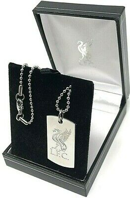 Liverpool Fc Stainless Steel Engraved Crest Dog Tag & Chain Pendant Necklace Lfc