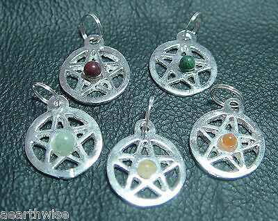 BULK 5 X PACK OF PENTACLES WITH GEMSTONES (SECONDS) Wicca Witch Pagan Goth
