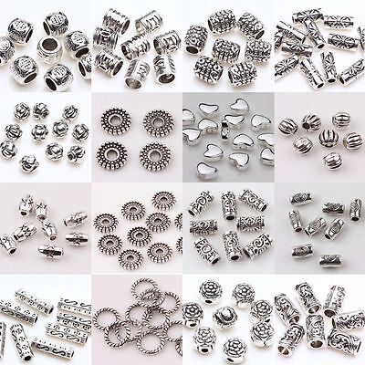 Wholesale 50/100pcs Silver Plated Loose Spacer Beads Charms Jewelry Making DIY H