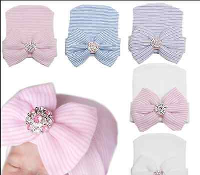 Baby Infant Striped Cap Hospital Newborn Soft Beanie Bow Rhinestone Warm Hat