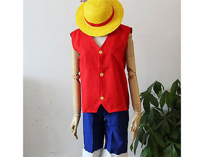 One Piece Monkey D. Luffy Ruffy Anime Cosplay Kostüm Weste + Hose + Strohhut