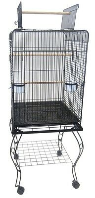 YML 20 Open Top Parrot Cage w/Stand In Black 600HBLK Bird Cage NEW