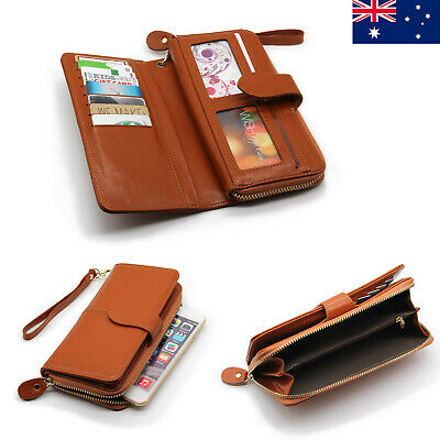 Double Zip Genuine Leather Ladies Womens Wallet Wristlet iPhone Clutch Purse