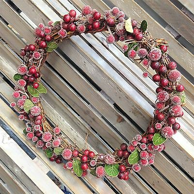 *Gisela Graham 30cm Frosted Berries Berry Wreath Christmas Hanging Decoration*