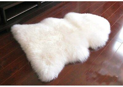 105CM Genuine Australian Sheepskin Lambskin Rug Pelt White ECO-TAN SANITIZED
