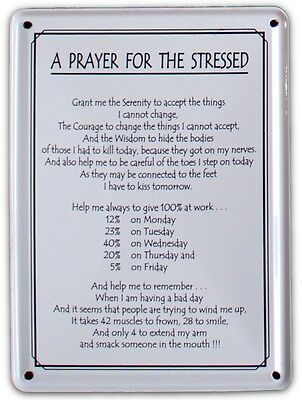 A PRAYER FOR THE STRESSED Small Vintage Metal Tin Pub Sign
