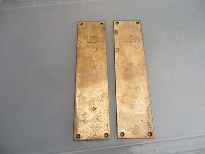 "Vintage Bronze Finger Plates Push Door Handles ""PUSH"" Pub Salvage Old Antique"