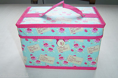 Small Sewing Box.  Ideal gift.  New modern brigh.   Aqua with Pink  Rosebuds
