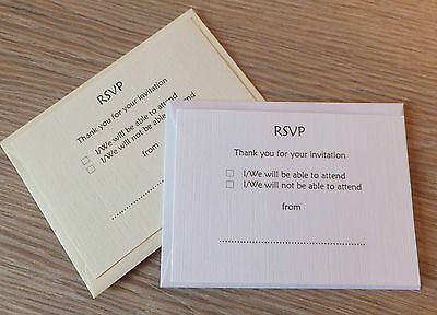 50 RSVP/Reply Cards For Wedding/Party **With Free Envelopes**