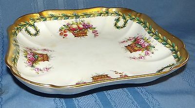 T. Goode & Co Copelands China England Hand Painted Pink Rose Square Bowl Vtg