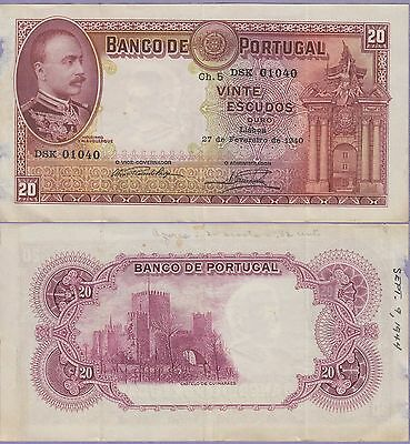 Portugal 20 Escudos Banknote,27.2.1940 Choice Very Good Condition Cat#143-1040