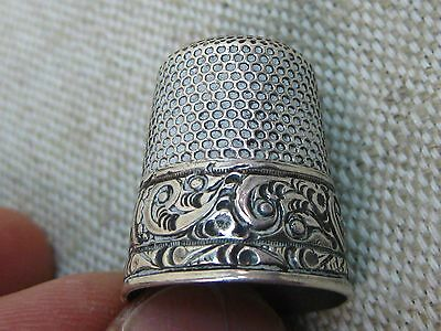 Vtg Victorian Sterling Silver Paisley Pattern Stern Bro. Sewing Thimble (Sz 11)