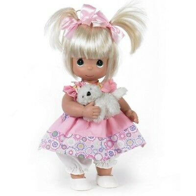 Precious Moments 12 Inch Doll with Mini Plush Kitten, Blonde Hair, New, 4669