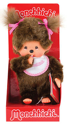 "MONCHHICHI GIRL Original Sekiguchi 7.5"" Pink Bib Monchichi plush monkey Doll toy"