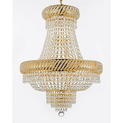 French Empire Crystal Chandelier 9 Lights Hanging Fixture Ceiling Gold Finish