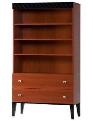 Bookcase Display Unit 4 Book Shelves 2 Drawer Sideboard Cherry Wood Cabinet