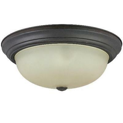 Sunlite 15in Distressed Brown Finish Tea Stained Glass Dome Ceiling Fixture