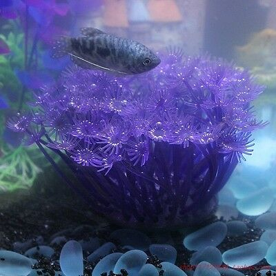 Aquarium violet fleur douce corail en plastique Fish Tank ornement plante décor