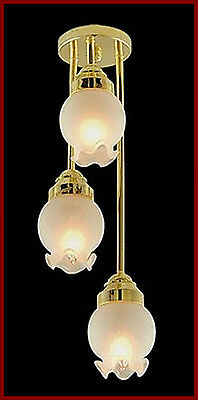 1:12 Scale Working 3 Drop Floral Shade Ceiling Light Dolls House Miniature EL175