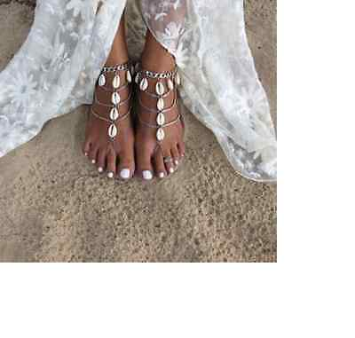 Pretty Beach Silver Shell Tassel Anklet Chain Ankle Barefoot Sandal Foot Jewelry